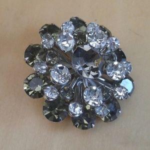 Vintage Rhinestone Starburst Flower Pin Brooch